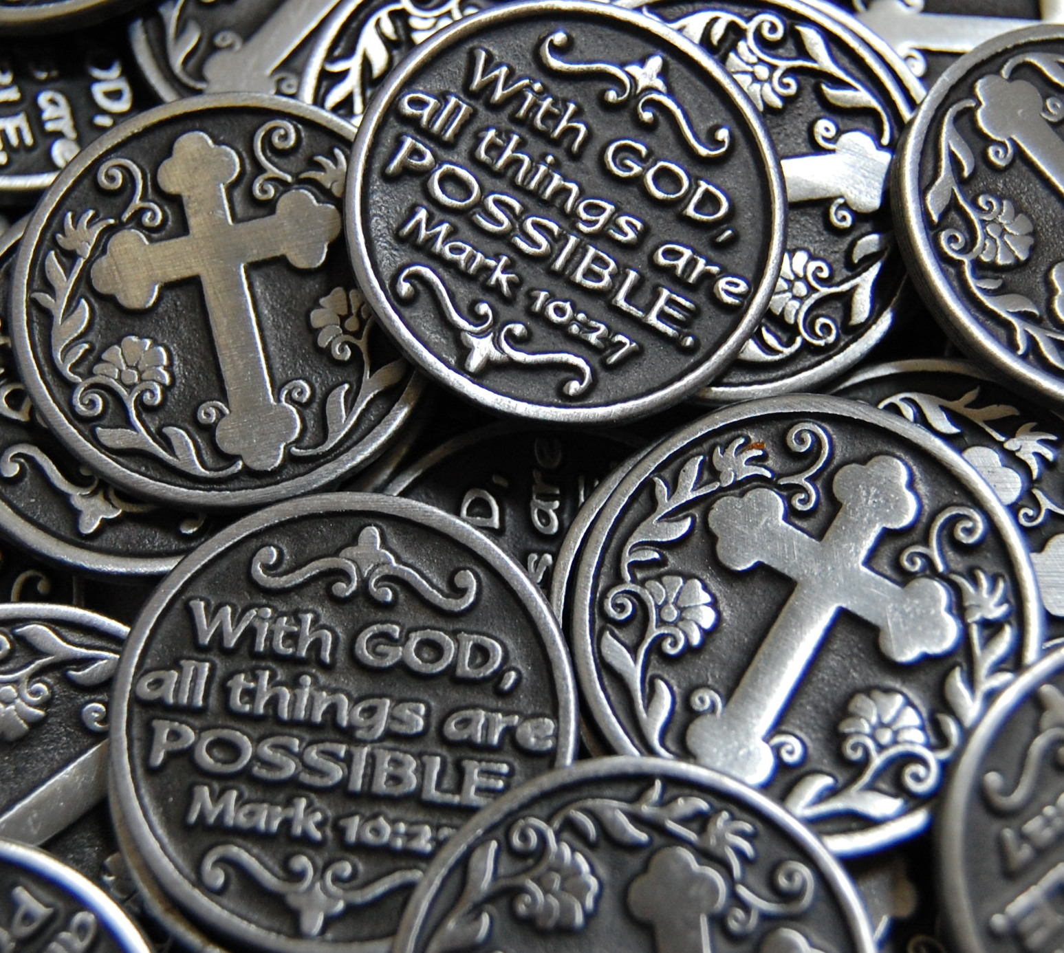 With God All Things Are Possible Cross Pocket Token