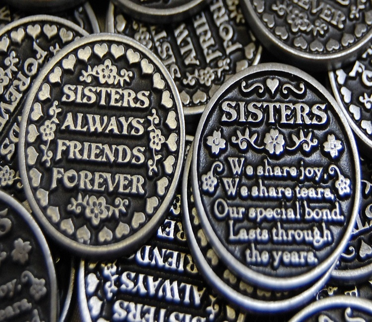 Sisters Always Friends Forever Pocket Token