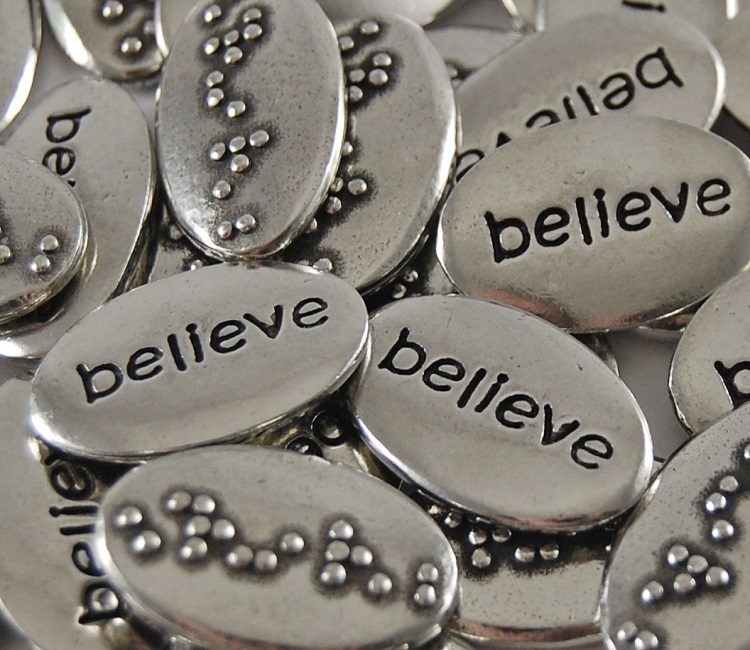 Believe Braille Word Pebble
