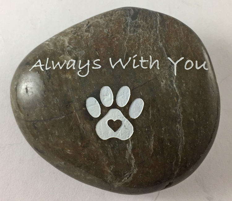 Always With You (pawprint) - Engraved River Rock