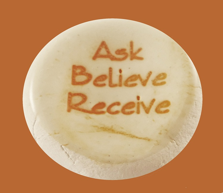 Ask Believe Receive - Ceramic Word Stone