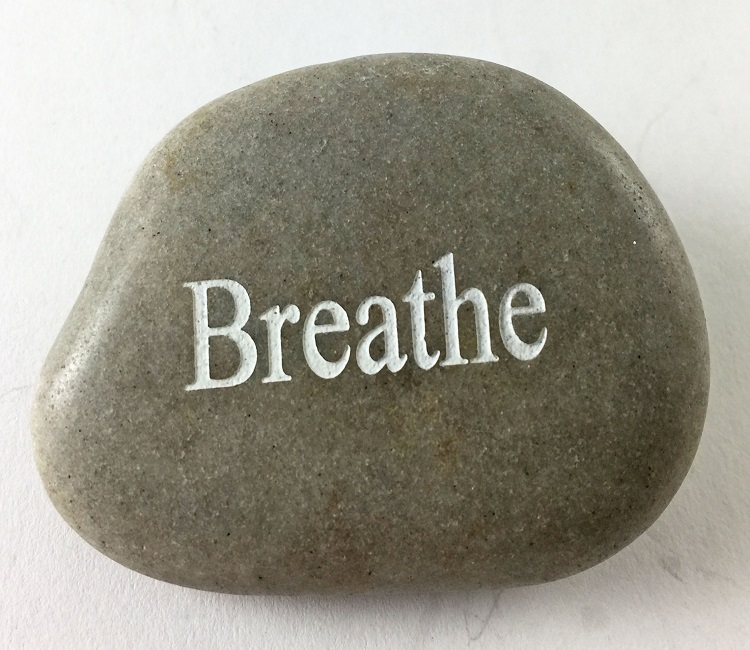 Breathe - Engraved River Rock