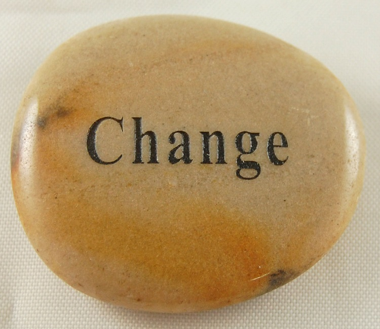 Change - Engraved River Rock