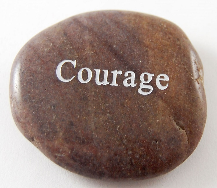 Courage - Engraved River Rock