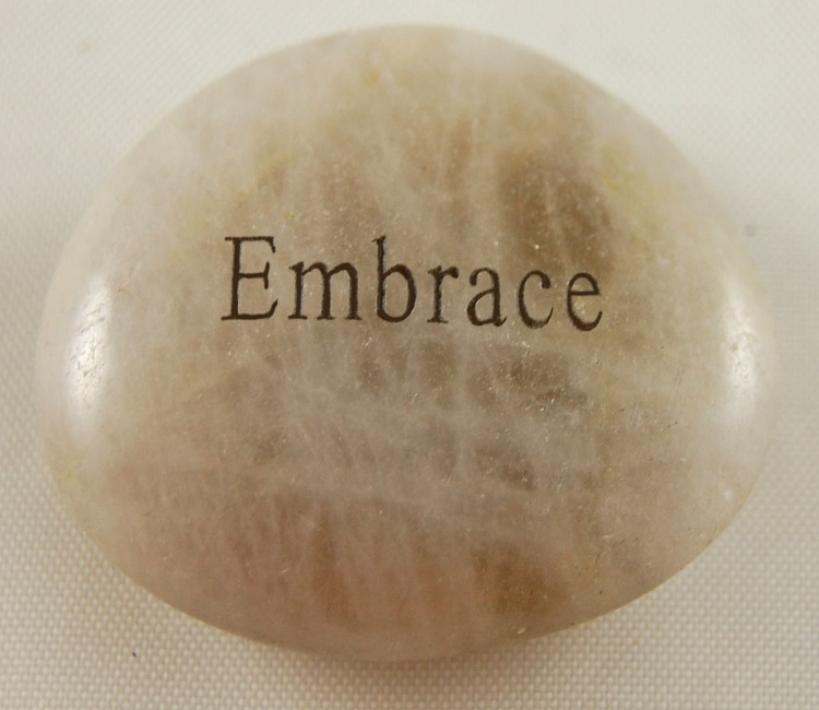 embrace - Engraved River Rock
