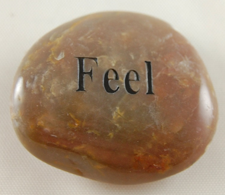 Feel - Engraved River Rock