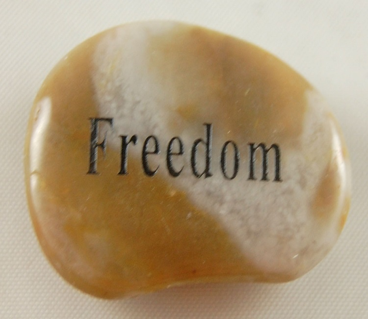Freedom - Engraved River Rock
