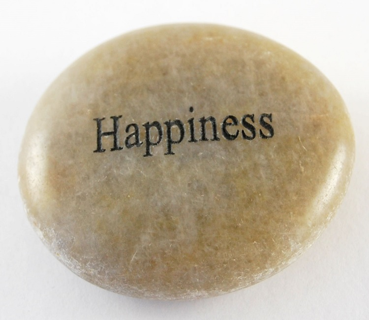 Happiness - Engraved River Rock