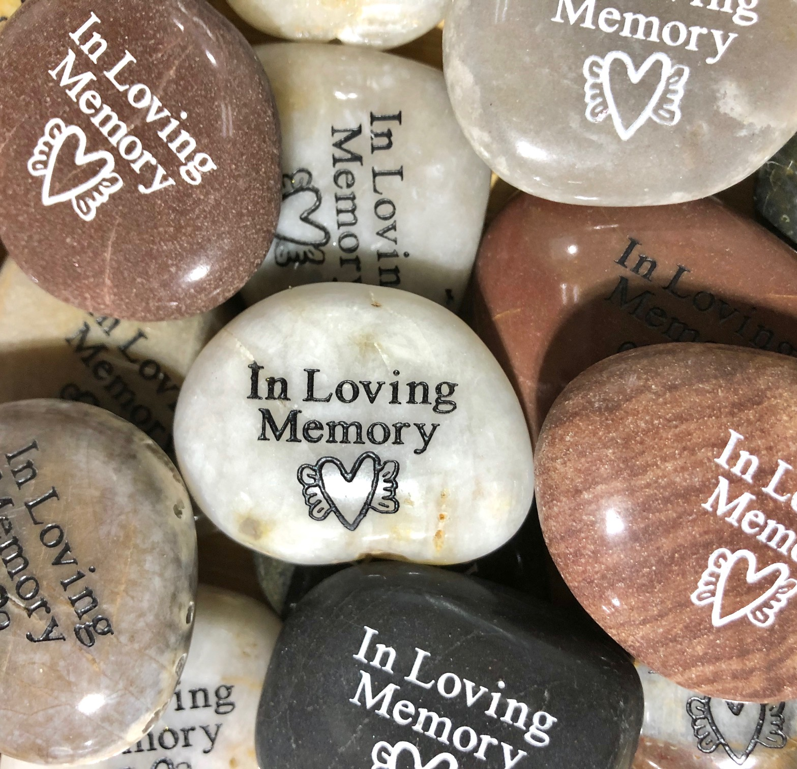In Loving Memory Stones with Heartwing