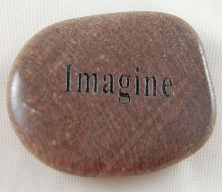 Imagine - Engraved River Rock