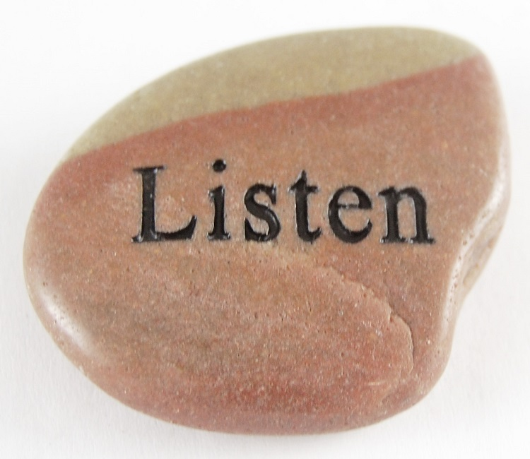 Listen - Engraved River Rock