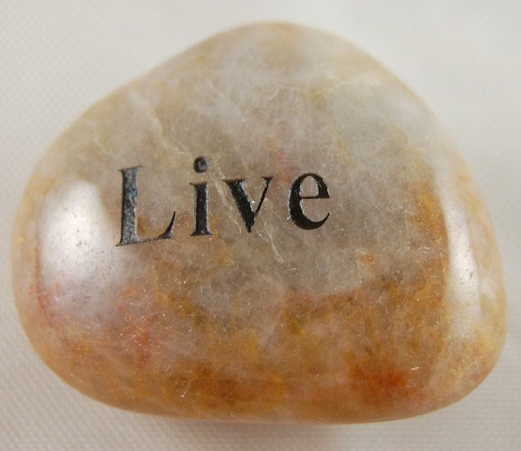 Live - Engraved River Rock