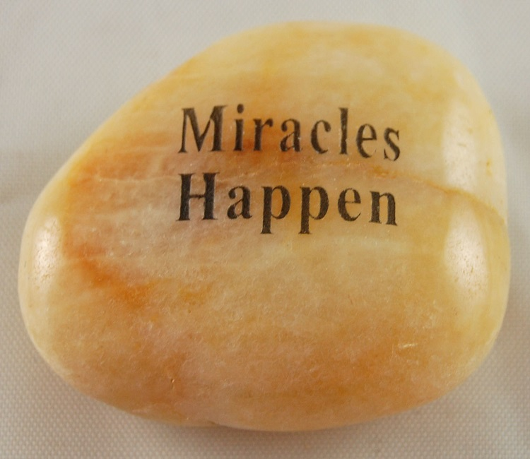Miracles Happen - Engraved River Rock