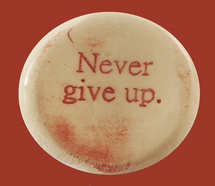 Never Give Up - Ceramic Word Stone