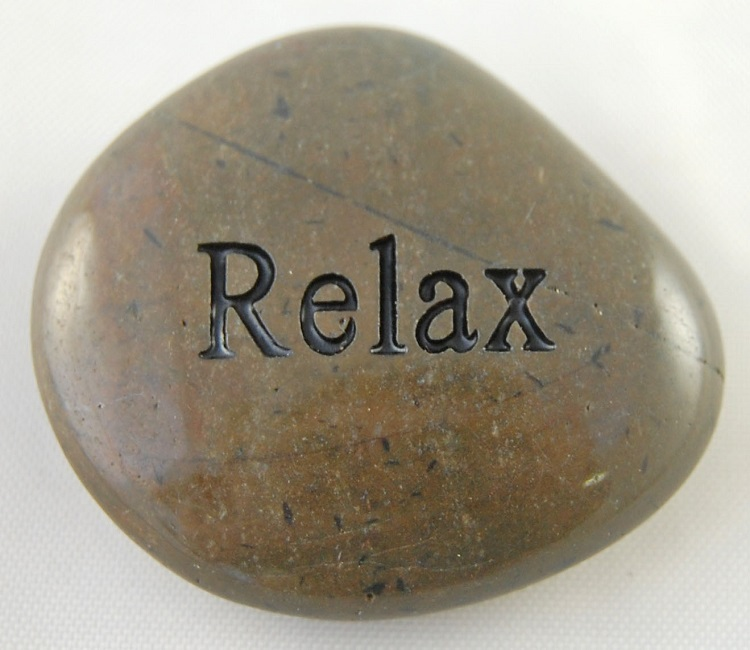 Relax - Engraved River Rock