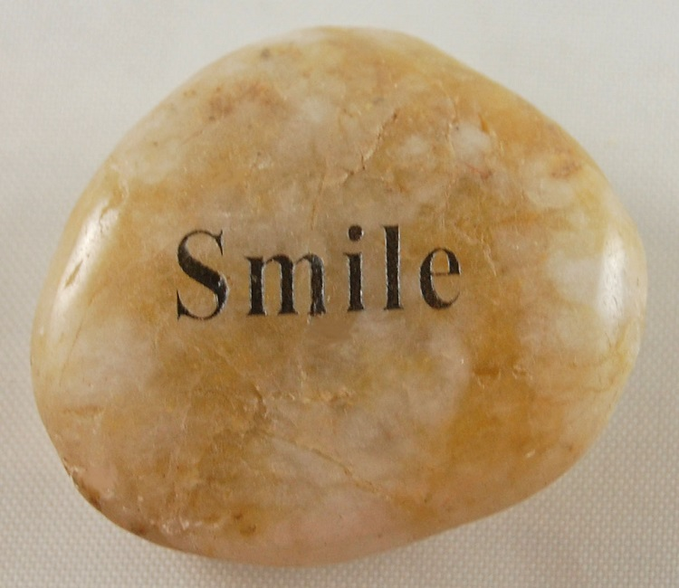 Smile - Engraved River Rock