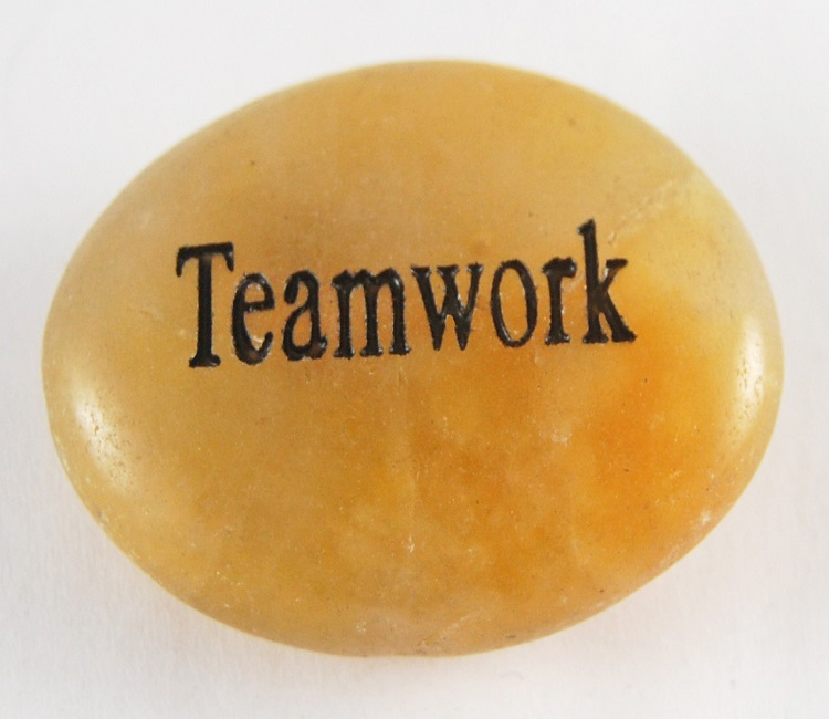 Teamwork - Engraved River Rock